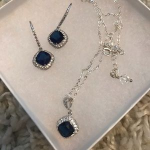 Sapphire cushion cut wedding earrings & necklace